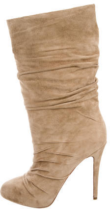 Christian Louboutin Christian Louboutin Suede Ruched Ankle Boots