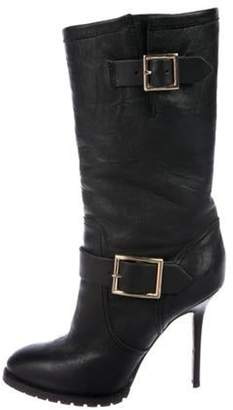 Jimmy Choo Dylan Leather Round-Toe Boots Black Dylan Leather Round-Toe Boots
