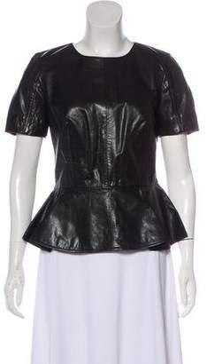 Alexander McQueen Leather Short Sleeve Peplum Top