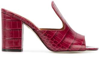 Paris Texas crocodile effect heeled mules