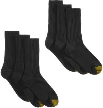 Gold Toe 6-Pk. Women's Extended-Size Ribbed Crew Socks