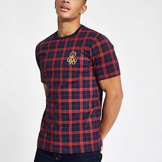 River Island Navy check 'R96' slim fit T-shirt