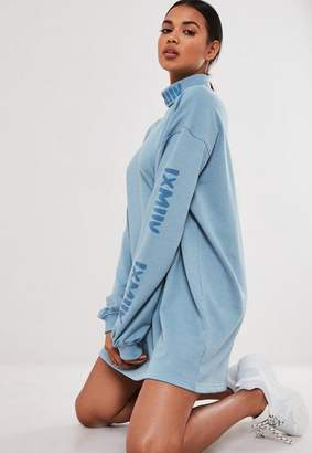 Missguided Blue Graphic Turtle Neck Sweater Dress