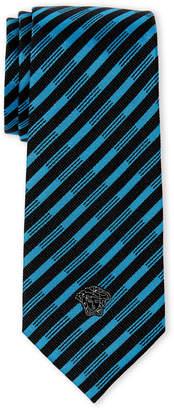 Versace Black & Blue Stripe Slim Silk Tie