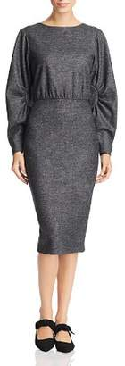 Badgley Mischka Marled Blouson-Sleeve Dress