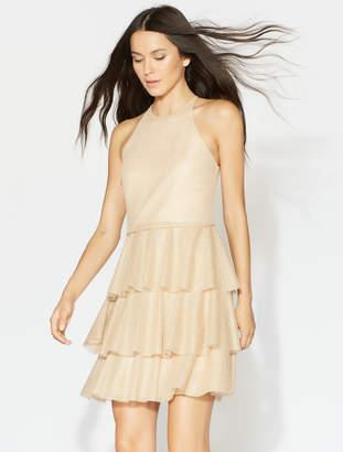 Halston Tiered Flounce Lace Dress