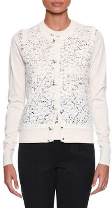 Dolce & Gabbana Long-Sleeve Button-Front Rose Lace Front Knit Cardigan