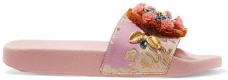 Dolce & Gabbana - Embellished Jacquard Slides - Baby pink $995 thestylecure.com