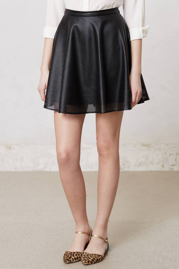 Anthropologie Noir Vegan Leather Skirt