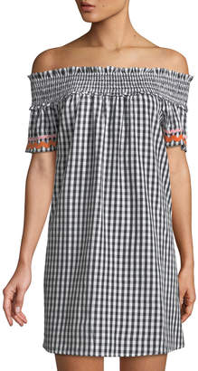 philosophy Gingham Off-The-Shoulder Mini Dress