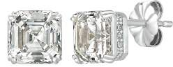Crislu Royal Asscher Cut Stud Earrings