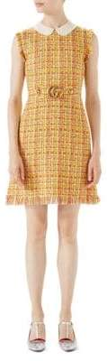 Gucci Multi Tweed Belted Dress