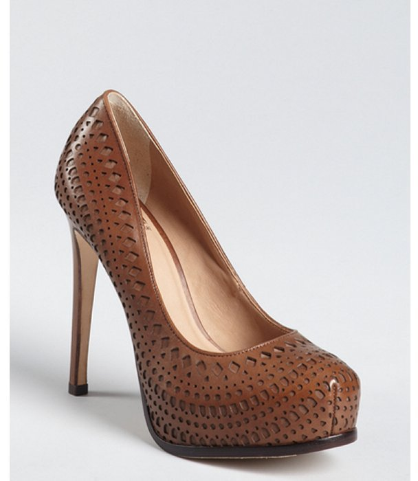 Pour la Victoire hazelnut cutout leather 'Veder' platform pumps