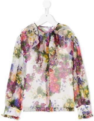 Dolce & Gabbana ruffled floral-print blouse
