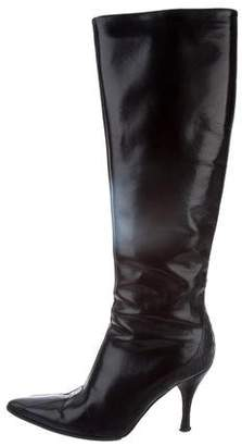 BCBGMAXAZRIA Leather Knee-High Boots