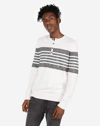 Express Marled Stripe Henley Sweater