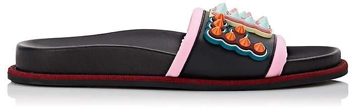 Fendi Women's Studded Logo Leather & Neoprene Slide Sandals