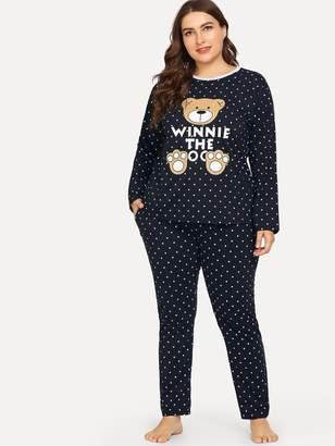 8a44135ea0 Shein Plus Bear Print Polka Dot Pajama Set