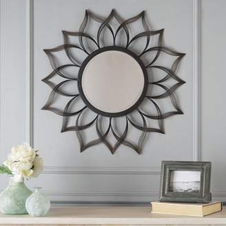Noble House Angie Floral Metal Modern Contemporary Wall Mirror Decor, Black