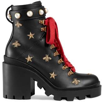 Gucci Leather embroidered ankle boots