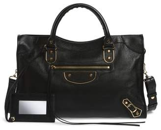 Balenciaga Metallic Edge City Goatskin Leather Tote