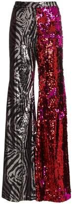 Halpern zebra print and sequin embellished flared trousers