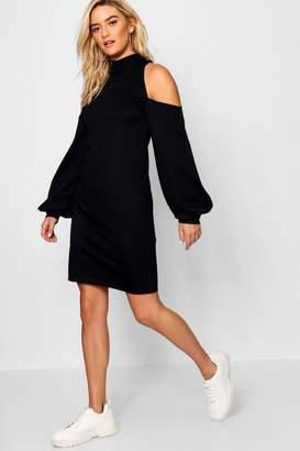 boohoo Cold Shoulder Sweatshirt Dress