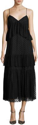 Robert Rodriguez Sleeveless Polka-Dot Lace Tiered Dress, Black
