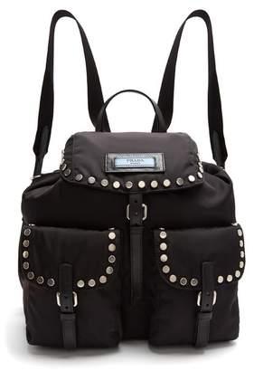 Prada - Small Stud Embellished Nylon Backpack - Womens - Black
