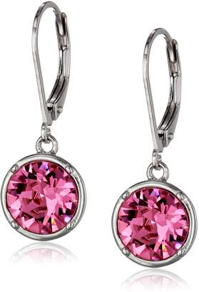 Swarovski Amazon Collection Sterling Silver Sapphire Round Leverback Dangle Earrings Made with Crystal