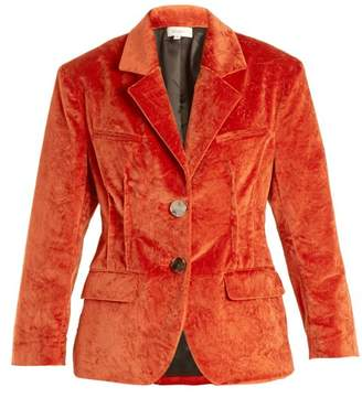 Isa Arfen Notch Lapel Crushed Velvet Cotton Blend Jacket - Womens - Dark Orange