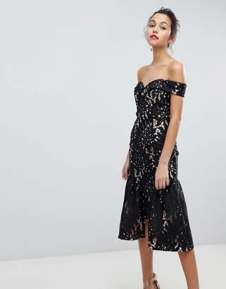 Jarlo All Over Cutwork Lace Bardot Midi Prom Dress With Ruffle Hem
