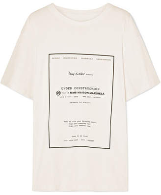 MM6 MAISON MARGIELA Printed Cotton-jersey T-shirt - White