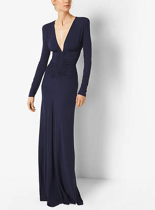 Michael Kors Ruched Stretch Matte-Jersey Gown