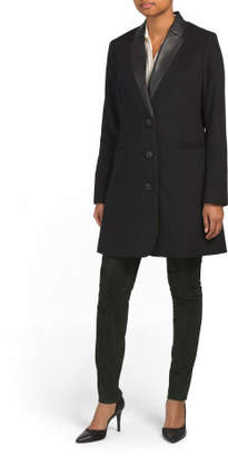 Faux Leather Trim Wool Blend Single Breasted Coat