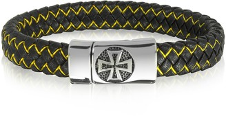 Celtic Blackbourne Black Woven Leather and Stainless Steel Cross Men's Bracelet