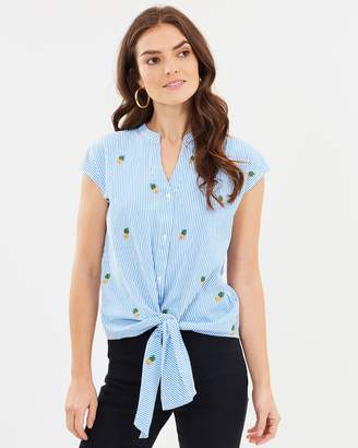 Warehouse Pineapple Embroidered Tie Front Shirt