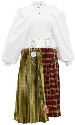 Chopova Lowena - Tartan Recycled Tapestry Midi Dress - Womens - White Multi