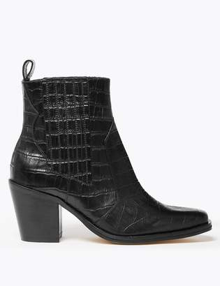 Marks and Spencer Leather Crocodile Print Block Heel Boots
