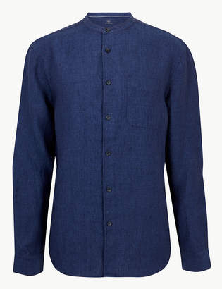 M&S CollectionMarks and Spencer Pure Linen Grandad Shirt with Pocket