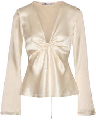 T by Alexander Wang - Knotted Hammered Silk-satin Blouse - Cream $395 thestylecure.com