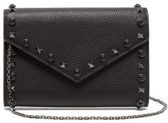 Valentino Rolling Rockstud Grained Leather Clutch - Womens - Black