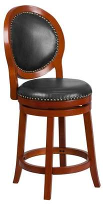 """Flash Furniture 26"""" High Light Cherry Counter Height Wood Barstool with Walnut Leather Swivel Seat"""