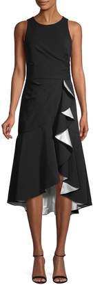 Carmen Marc Valvo Ruffled High-Low Wrap Dress