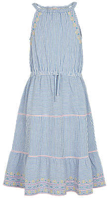 Fat Face Girls' Edith Embroidered Dress, Blue