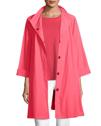 Eileen Fisher Weather-Resistant Snap-Front Coat, Petite