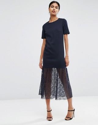 ASOS Maxi Scuba Dress with Lace Pep Hem $68 thestylecure.com
