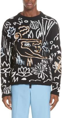 Kenzo Neon Pattern Wool Blend Sweater