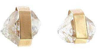 Melissa Joy Manning Herkimer Diamond Wrapped Stud Earrings - Yellow Gold
