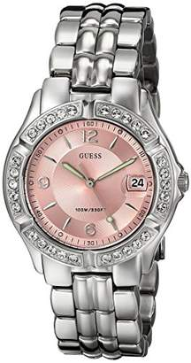 GUESS Women's Stainless Steel Crystal Accented Pink Dial Watch